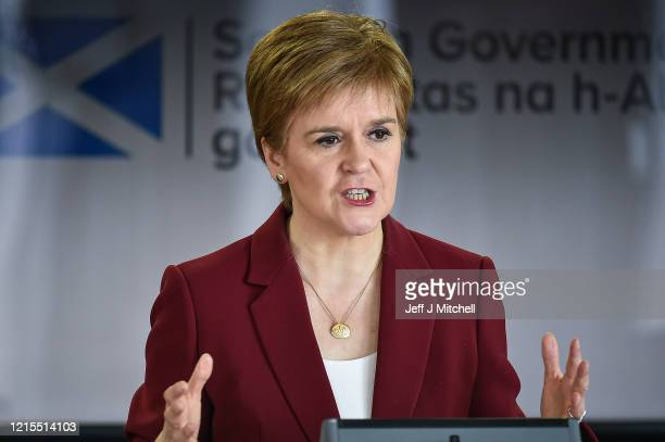 The Scottish First Minister Nicola Sturgeon gives a coronavirus briefing at St Andrews House on March 29, 2020 in Edinburgh, Scotland. The...