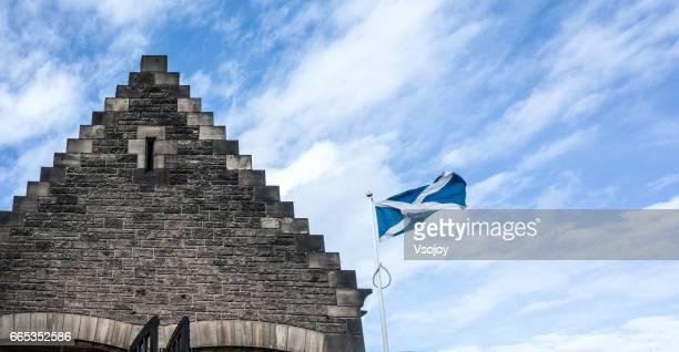 The Scottish flag and the triangle roof, Edinburgh, Scotland, UK