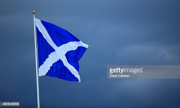 The Scottish flag flies during the Third Round of the Ricoh Women's British Open at Turnberry Golf Club on August 1 2015 in Turnberry Scotland