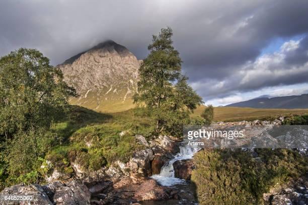 The Scottish mountain Buachaille Etive Mor in Glen Etive in the Highlands of Scotland, UK.