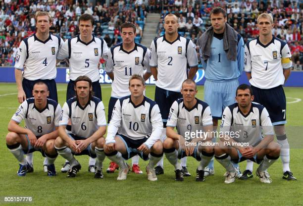 The Scottish National Football Team Back Row Left to Right Steven Caldwell Gary Caldwell Ross McCormack Alan Hutton David Marshall Captain Darren...