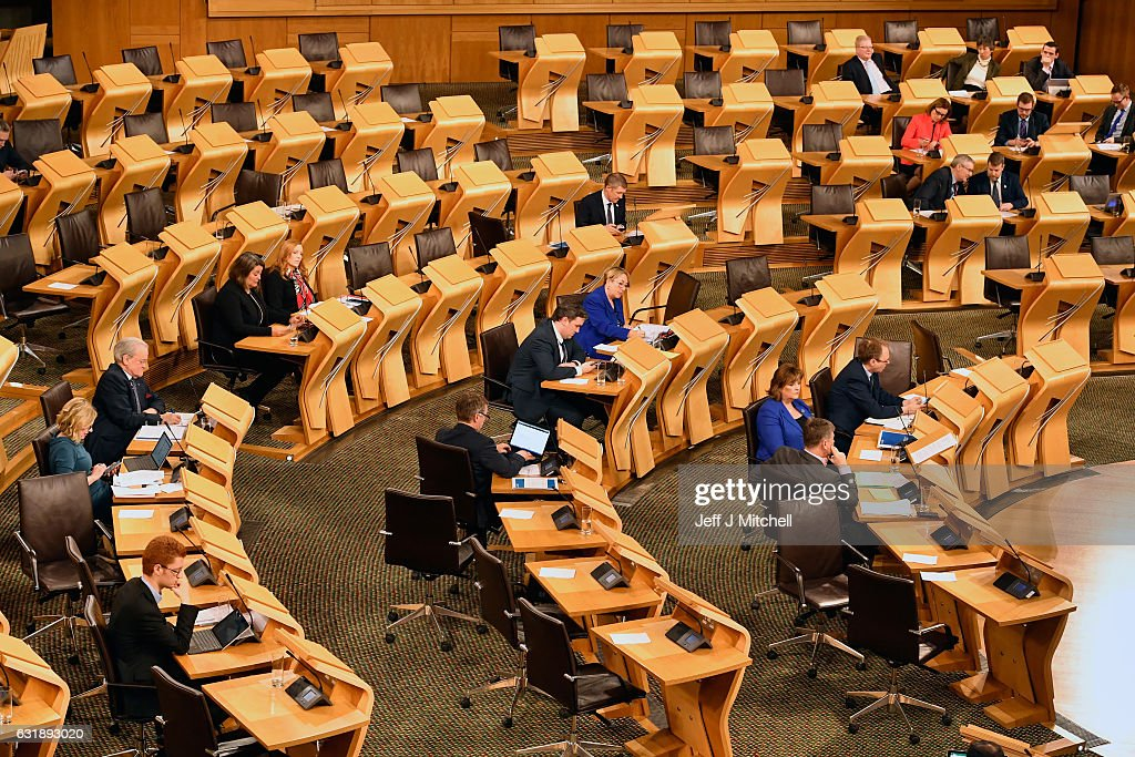 The Scottish parliament chamber is seen during the debate to keep Scotland in the European single market at the Scottish Parliament on January 17, 2016 in Edinburgh, Scotland. The Prime Minister spoke to Nicola Sturgeon ahead of a speech confirming that the UK will leave the EU. The SNP leader has repeatedly raised the possibility of a second independence referendum if Scotlands membership of the single market is threatened by a so called hard Brexit.