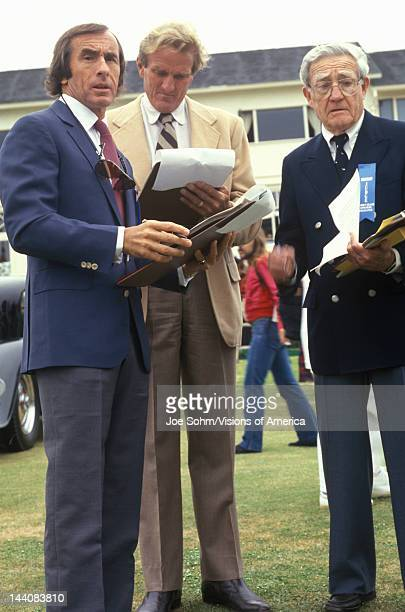 The Scottish race car driver Jackie Stewart and other former racecar drivers judge classic cars at the 35th Annual Concours D' Elegance Competition...