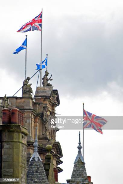 The Scottish saltire and the union flag fly over buildings on the Edinburgh skyline, as the row between the Scottish and UK Governments over Brexit...