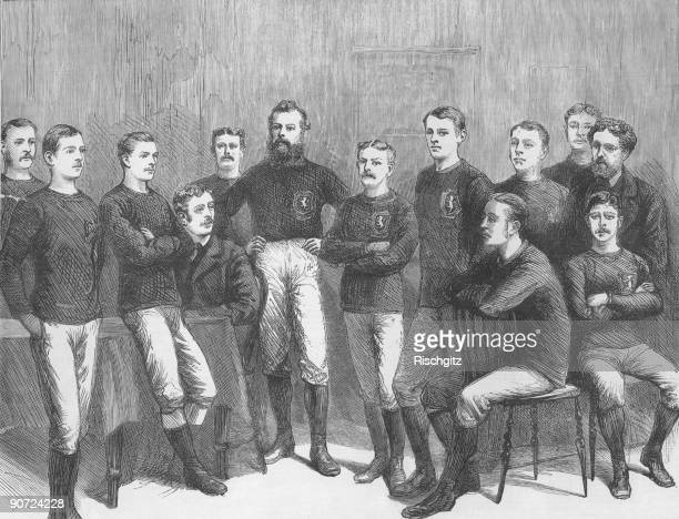 The Scottish team who took part in an international match against England at Kennington Oval 5th April 1879 From left to right John McPherson William...