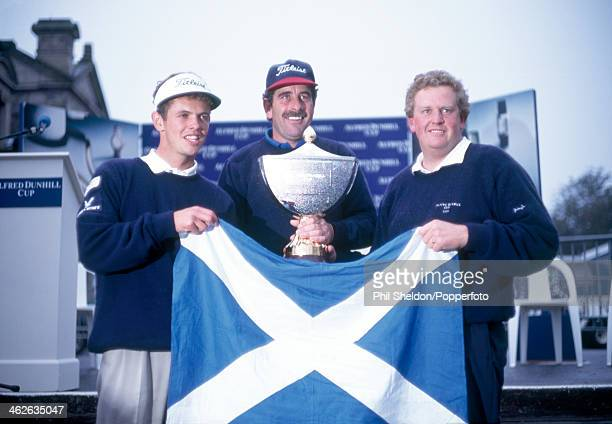The Scottish team with the trophy after winning the Alfred Dunhill Cup golf competition held at the St Andrews Golf Course Scotland 22nd October 1995...