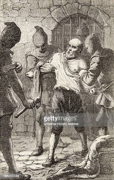 The Scourging Of George Penn During The Spanish Inquisition From The Book Of Martyrs By John Foxe Published C1865