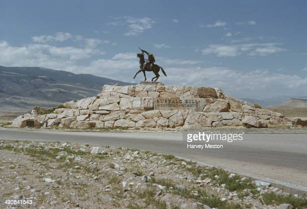 The Scout a bronze statue of Buffalo Bill Cody outside the city of Cody Wyoming USA circa 1965