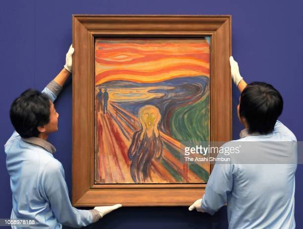 The Scream' by artist Edvard Munch is installed prior to the special exhibition 'Munch: A Retrospective' at the Tokyo Metropolitan Art Museum on...