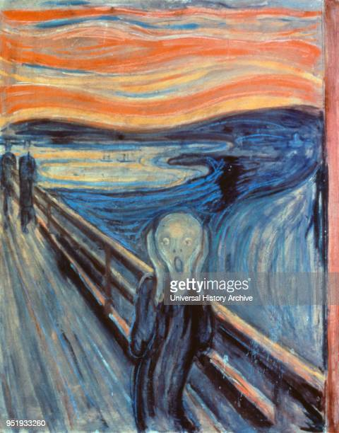 The Scream Tempera and pastel on wood, 1893. One of four versions of a composition, by Norwegian Expressionist artist Edvard Munch between 1893 and...