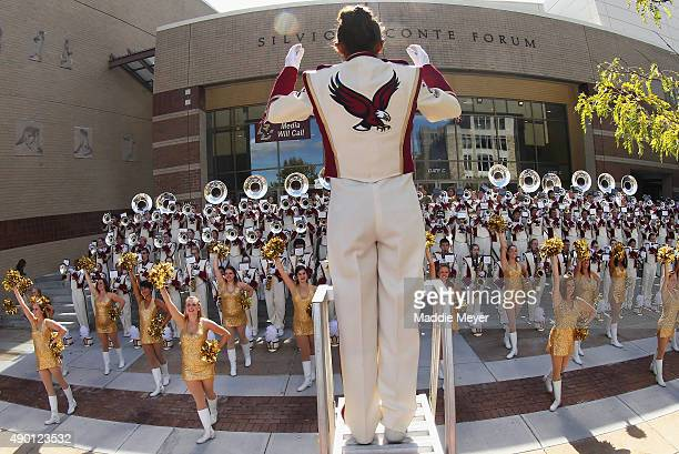 The 'Screaming Eagles' Marching Band performs before the game between the Boston College Eagles and the Northern Illinois Huskies at Alumni Stadium...