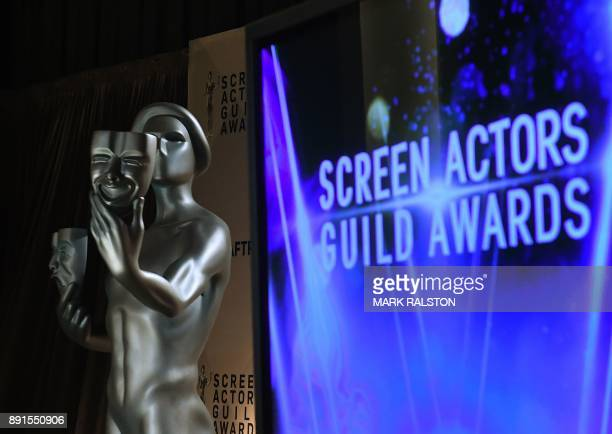 The Screen Actors Guild SAG Awards statue is viewed before the announcement of the nominations at the Pacific Design Center in West Hollywood...
