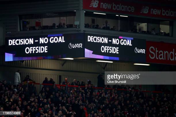 The screen inside the stadium shows that the goal of Pedro Neto of Wolverhampton Wanderers is disallowed for offside following a VAR check during the...