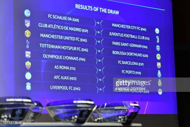 The screen showing the fixtures is displayed after the draw for the round of 16 of the UEFA Champions League football tournament at the UEFA...