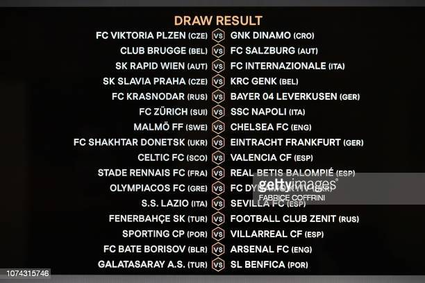 The screen showing the fixtures is displayed after the draw for the round of 32 of the UEFA Europa League football tournament at the UEFA...