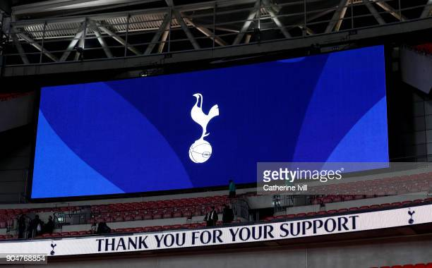 The screen showing Tottenham Hotspur badge after the Premier League match between Tottenham Hotspur and Everton at Wembley Stadium on January 13 2018...