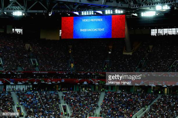 The screen shows that the VAR has been acitvited during the FIFA Confederations Cup Russia 2017 Final between Chile and Germany at Saint Petersburg...