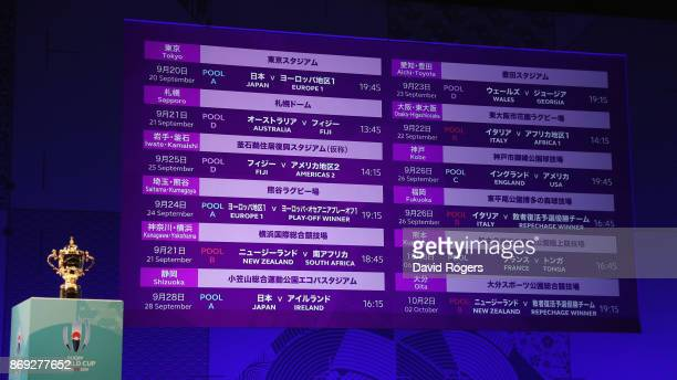 The screen shows the details for group matches during the Rugby World Cup 2019 match schedule announcement at Grand Prince Hotel Shin Takanawa on...