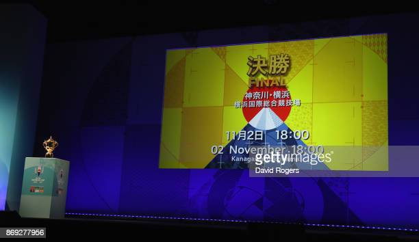 The screen shows the details for the final match during the Rugby World Cup 2019 match schedule announcement at Grand Prince Hotel Shin Takanawa on...
