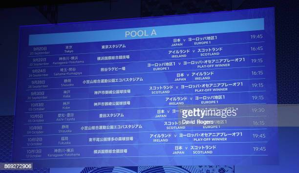 The screen shows the Group A fixtures during the Rugby World Cup 2019 match schedule announcement at Grand Prince Hotel Shin Takanawa on November 2...