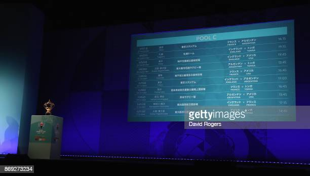 The screen shows the Group C fixtures during the Rugby World Cup 2019 match schedule announcement at Grand Prince Hotel Shin Takanawa on November 2...