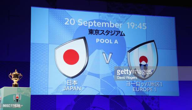 The screen shows the opening match details Japan v Europe 1 during the Rugby World Cup 2019 match schedule announcement at Grand Prince Hotel Shin...