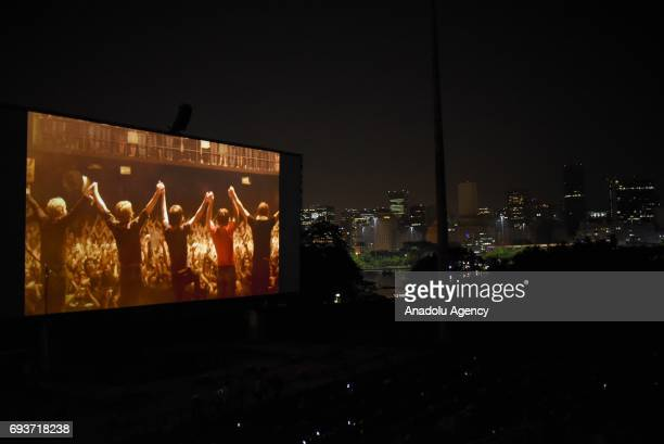 The screen, with its 325-square-meter giant screen are seen during Shell Open Air in Rio de Janeiro on May 7, 2017 for the first scene of this new...