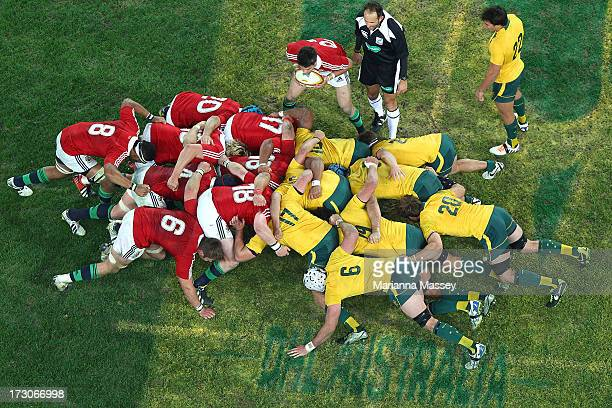 The scrum packs down during the International Test match between the Australian Wallabies and British Irish Lions at ANZ Stadium on July 6 2013 in...