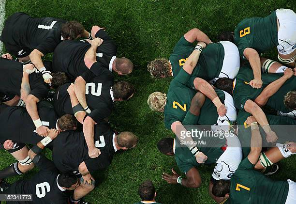 The scrum packs down during the Rugby Championship match between the New Zealand All Blacks and South Africa at Forsyth Barr Stadium on September 15...