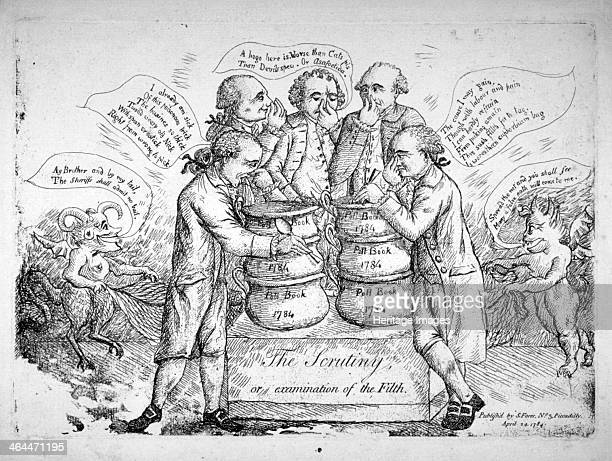 'The scrutiny or examination of the filth' 1784 Five men holding their noses and examining chamber pots with devils in the background on either side...