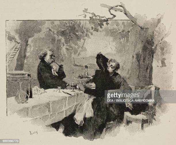 The sculptor Caoudal watching Fanny and Jean kissing engraving from Sappho Parisian manners by Alphonse Daudet engravings by Guillaume Freres