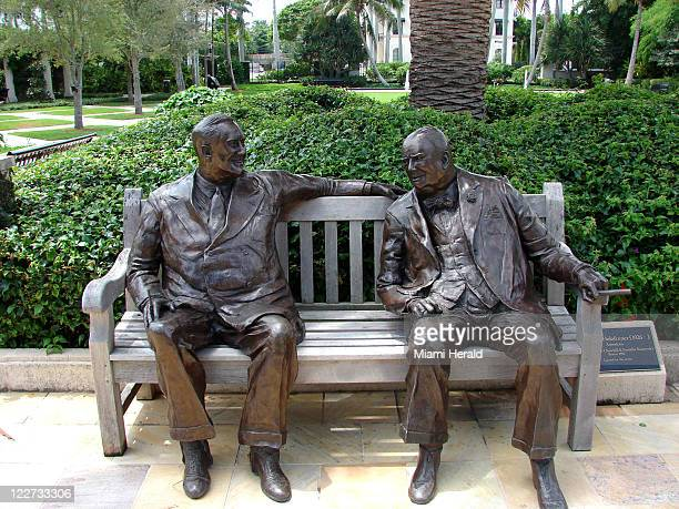 The sculpture Allies by Lawrence Holofcener showing Winston Churchill and Franklin Roosevelt is displayed in the Philip Hulitar Sculpture Garden a...