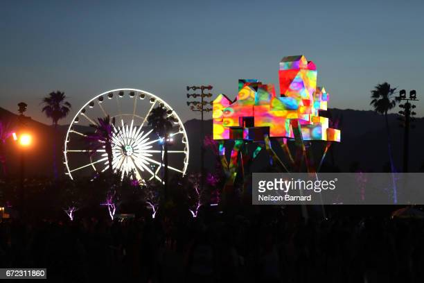 The sculpture 'Crown Ether' during day 3 of the 2017 Coachella Valley Music Arts Festival at the Empire Polo Club on April 22 2017 in Indio California