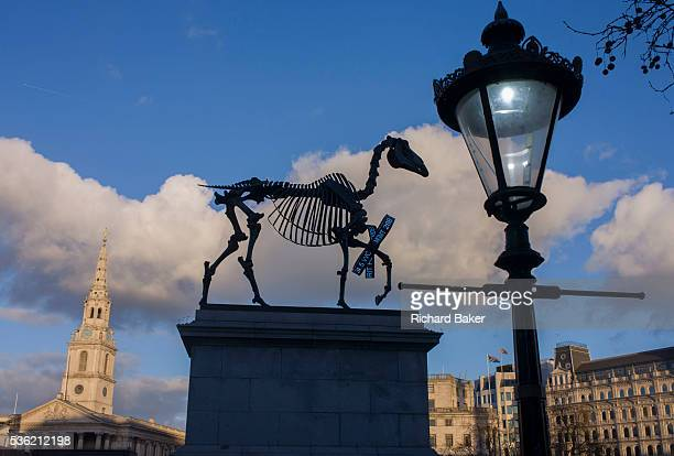 The sculpture known as Gift Horse, by German artist Hans Haacke on the public space called the Fourth Plinth in London's Trafalgar Square. Looking up...