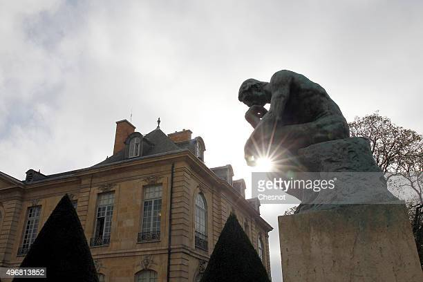The sculpture 'Le Penseur' by French sculptor Auguste Rodin is seen in the garden of the Rodin Museum on November 12 2015 in Paris France After a...