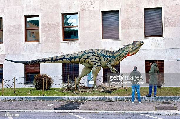 The sculpture of Allosaurus fragilis is displayed as part of 'Dinosaurs in Flesh and Bones' an exhibition of dinosaurs and other prehistoric animals...