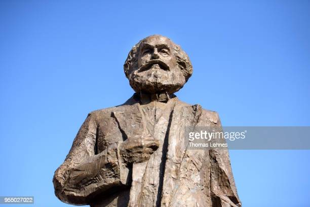 The sculpture of German philosopher and revolutionary Karl Marx pictured on the 200th anniversary of the birth of Karl Marx on May 5 2018 in Trier...
