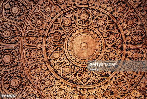 The Sculpture of thai style decorative on the wall  , Bangkok,Thailand