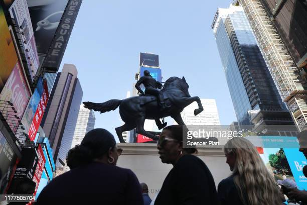 """The sculpture """"Rumors of War"""" is unveiled in Times Square on September 27, 2019 in New York City. """"Rumors of War"""" was created by artist Kehinde Wiley..."""