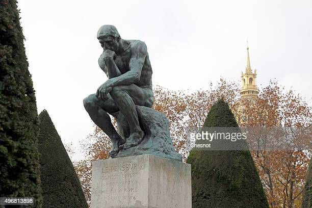 The sculpture'Le Penseur' by French sculptor Auguste Rodin is seen in the garden of the Rodin Museum on November 12 2015 in Paris France After a...
