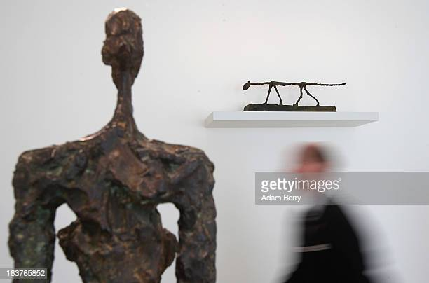 The sculptures 'Woman of Venice IV' and 'The Cat' by Alberto Giacometti are seen in the Kommandantenhaus the newlyadded building to the Berggruen...