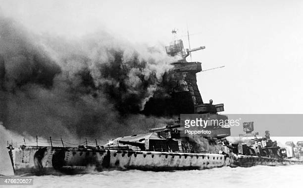 The scuttling of the Admiral Graf Spee following the Battle of the River Plate in Montevideo harbour during World War Two on 17th December 1939