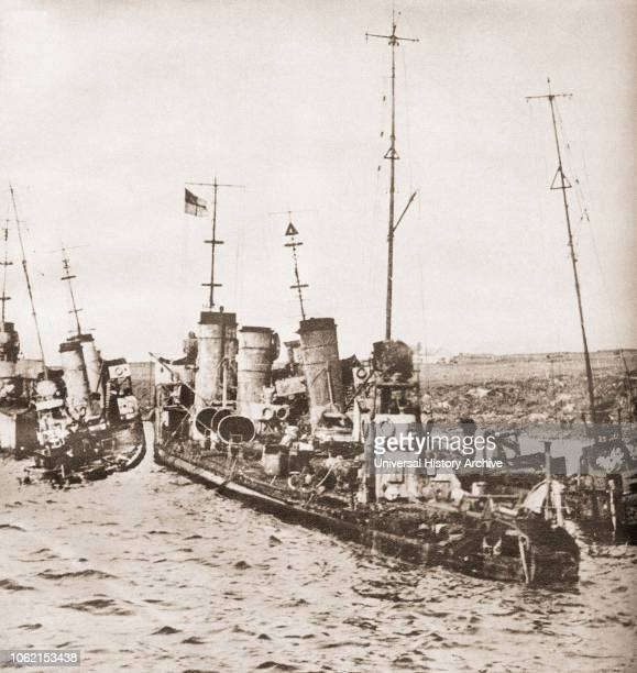 The scuttling of the German grand fleet at Scapa Flow Scotland in 1919 From These Tremendous Years published 1938