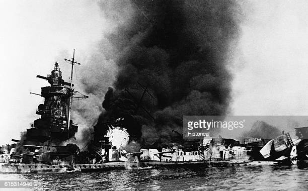The scuttling of the German warship Admiral Graf Spee off Montevideo Uruguay | Location Near Montevideo Uruguay