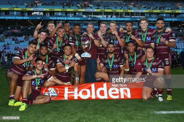 The Sea Eagles celebrate after winning the 2017 Holden Cup Grand Final match between the Manly Sea Eagles and the Parramatta Eels at ANZ Stadium on...