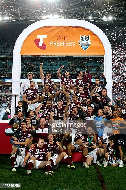 The Sea Eagles celebrate winning the 2011 NRL Grand Final match between the Manly Warringah Sea Eagles and the Warriors at ANZ Stadium on October 2,...