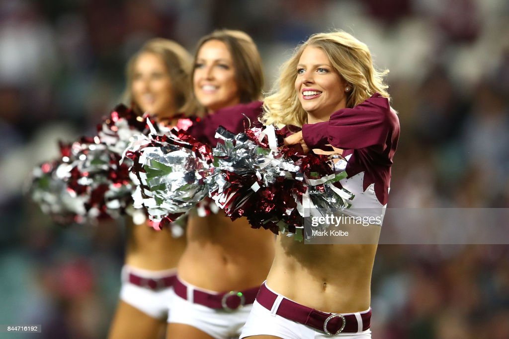 The Sea Eagles cheerleaders perform during the NRL Elimination Final match between the Manly Sea Eagles and the Penrith Panthers at Allianz Stadium on September 9, 2017 in Sydney, Australia.