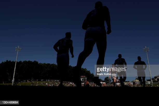 The Sea Eagles run out during the NRL Trial Match between the Wests Tigers and the Manly Sea Eagles at Leichhardt Oval on February 28, 2021 in...