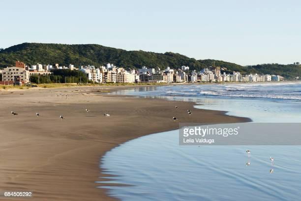The sea forms waves in the sand of the beach. Laguna, Santa Catarina - Brazil