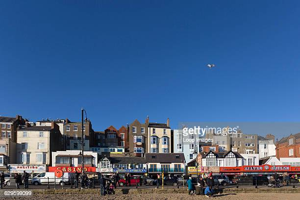 The sea front shops on South Bay beach , Scarborough, England.